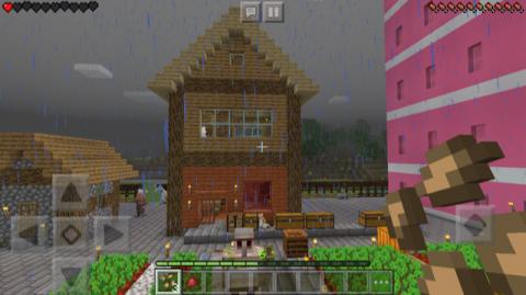 なな_マイクラ雨と家