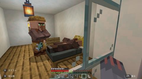 なな_マイクラアパートで寝る村人