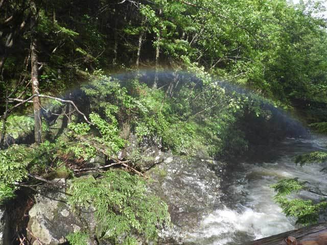 滝のの水しぶきにかかる虹