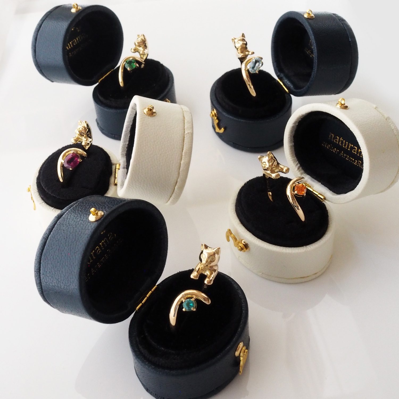 レアストーン金の猫リング各種