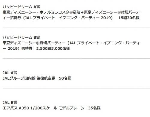 1JAL ハッピードリームキャンペーン 2019 東京ディズニーシー貸切パーティー招待券や宿泊も当たります。1
