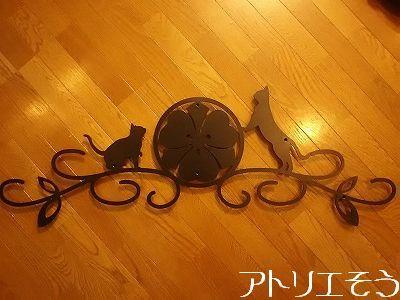 丸に剣片喰家紋妻飾り。アルミ製和風妻飾り。