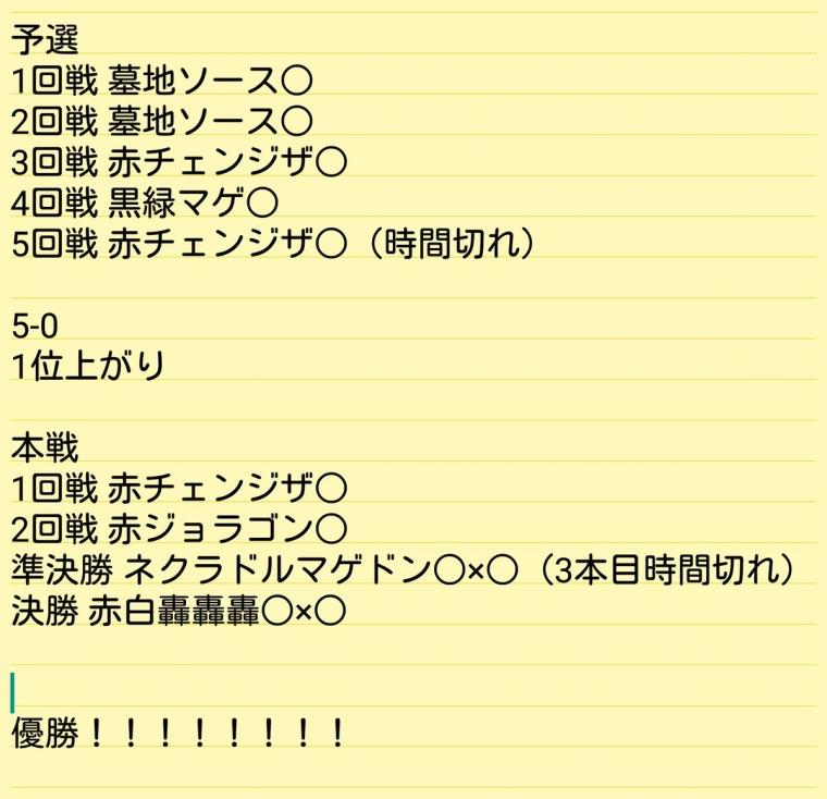 平安堂デュエマCS☆IN☆更埴 11th優勝 5C蒼龍 omuguyさん 戦績