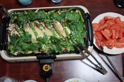 北海道アスパラとアルプスサーモンのチャンチャン焼き