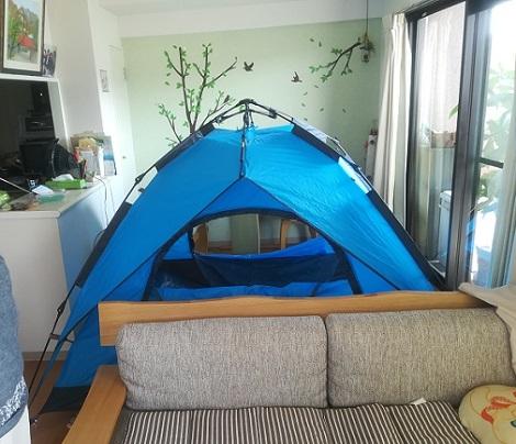 3 室内でテントを組み立てた