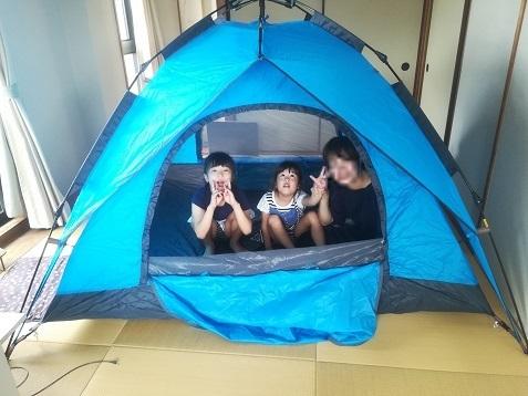 3 アマゾンで買ったテントを組み立てた