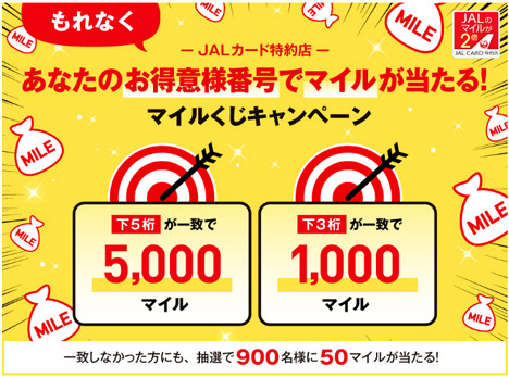JALは、お得意様番号でマイル当たるキャンペーンを開催!