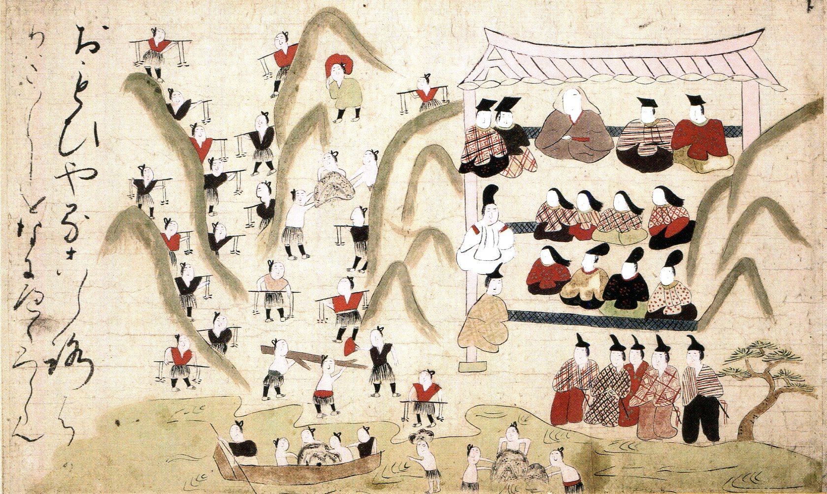 「つきしま絵巻」 2巻 室町時代(16世紀) 日本民藝館 (場面替あり)