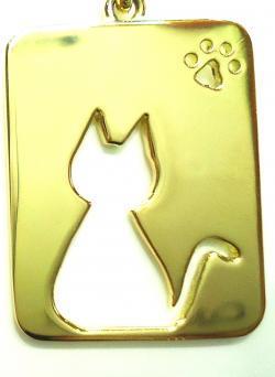 K18プレート猫ペンダント ●