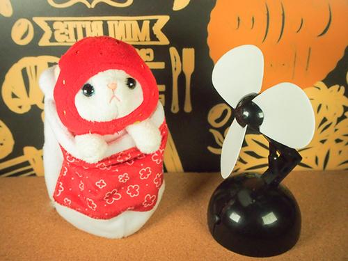 お布団の中で、絶賛ぐうたら生活満喫中な、cho cho本舗のいちご猫ちゃんに、扇風機を買ってあげました。