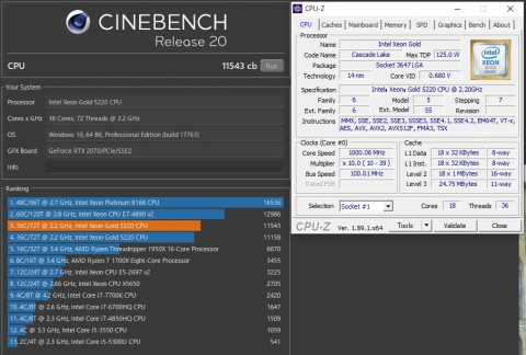 Xeon Gold 5220 双発 CineBench R20 (2019年8月4日)