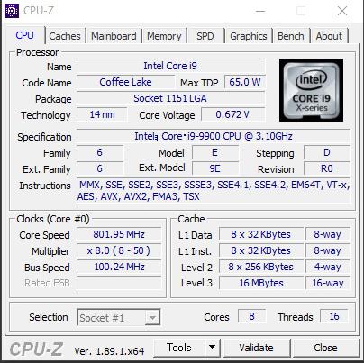 Core i9 9900 CPU-Z (2019年8月25日)