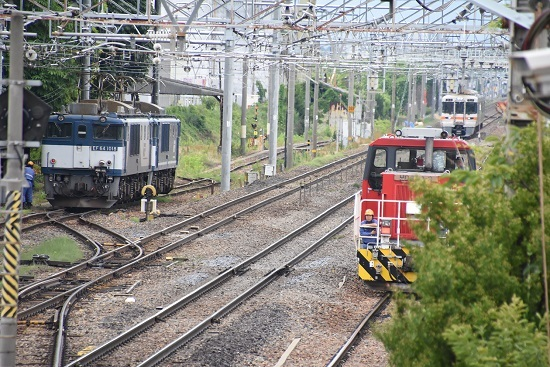 西線貨物8084レ EF64重連とHD300-9号機 遠くに313系1700番台
