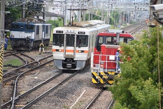 西線貨物8084レ EF64重連とHD300-9号機と313系1700番台の3並び