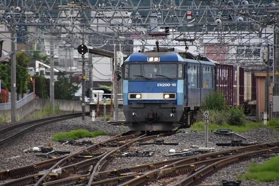 塩尻駅3番線を通過する東線貨物2083レ EH200-10号機