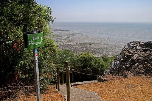 シャンポーの崖を降りる遊歩道