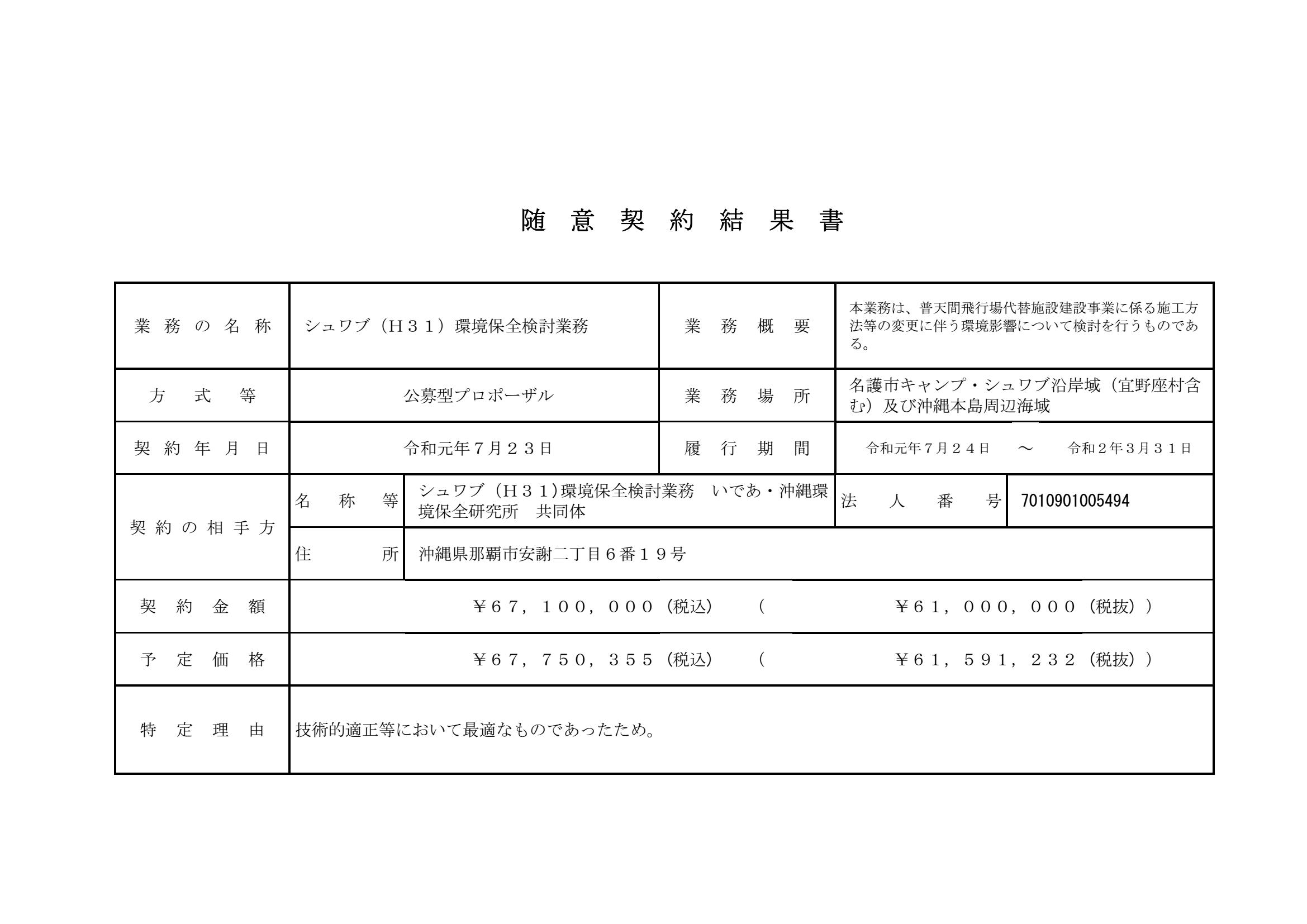 随意契約シュワブ環境保全検討