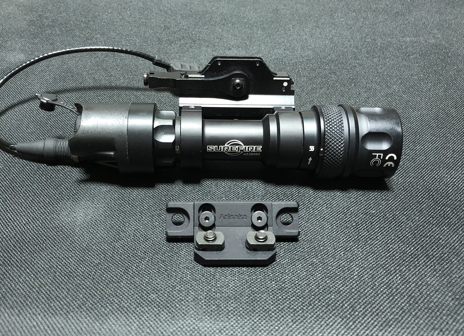 9 実物 ARISAKA DEFENSE LLC OFFSET M620 ADAPTER & SCOUT MOUNT M-LOK & SUREFIRE M952V 実物 アリサカ