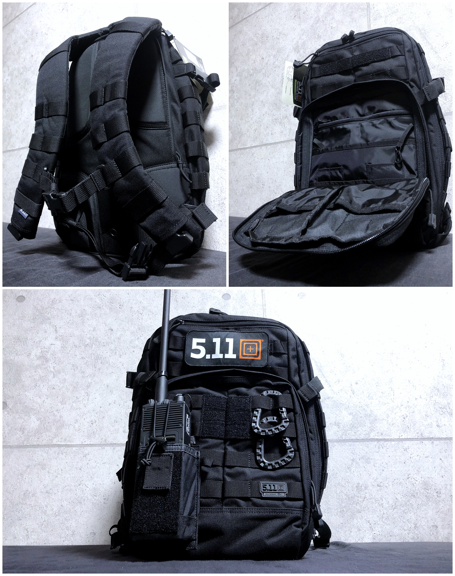 2 実物 511 Tactical RUSH 12 BACKPACK CUSTOM!! ライフルケース・ストラップシステム・ポーチ・ワッペン・ITW TAC LINKなど!! ファイブイレブン タクティカル ラッシュ バックパック カスタム!! 購入 取付 レビュー