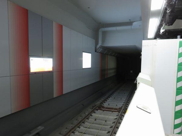 2番線と同様に移設された1番線の車止め。