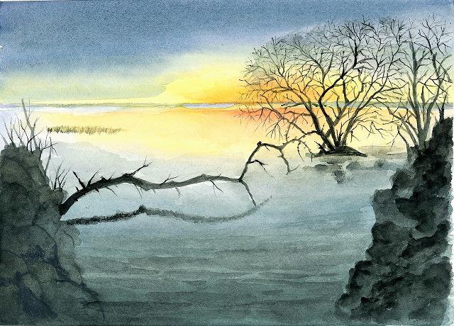 s-湖畔の夕焼け風景