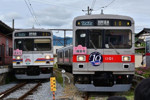 2018年9月2日 上田電鉄別所線 下之郷 1000系1002編成/1001編成