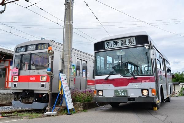 2018年9月2日 上田電鉄別所線 下之郷 1000系1001編成/上田バス H-897号車