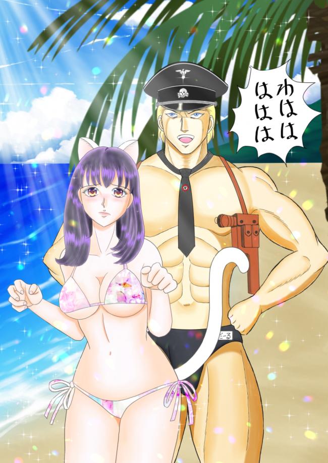海パンサンダールとMMにゃん(縮小)