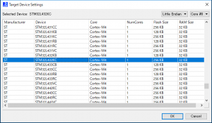 STM32L432メモリサイズJlink