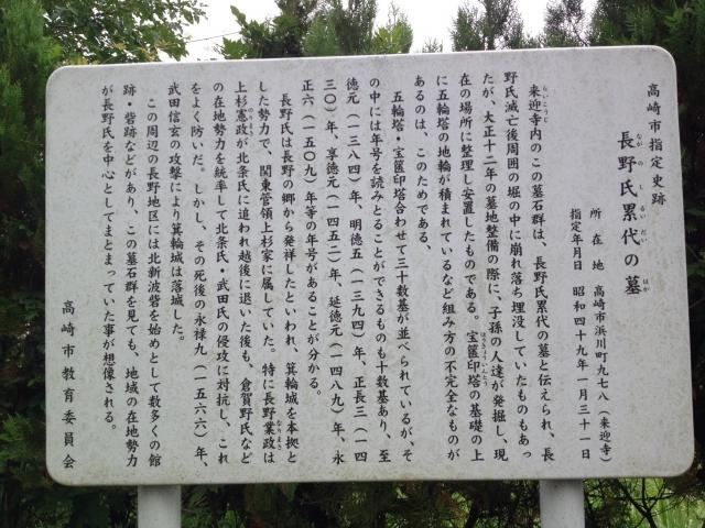 長野氏累代の墓案内看板。
