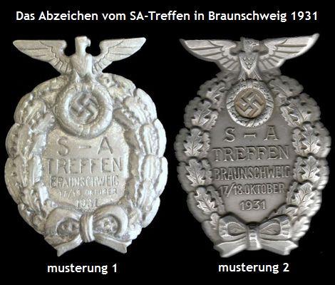 Das Abzeichen vom SA-Treffen in Braunschweig 1931