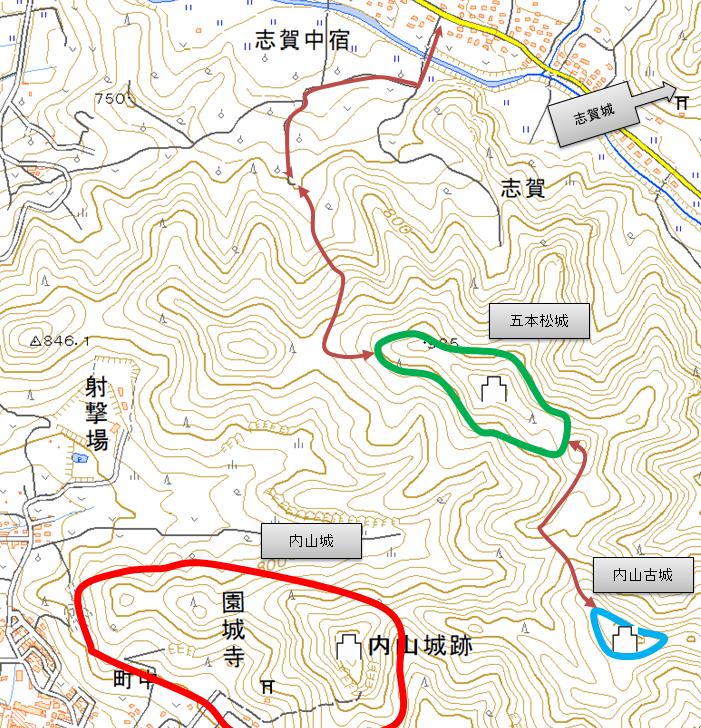 完 志賀城との位置関係2019
