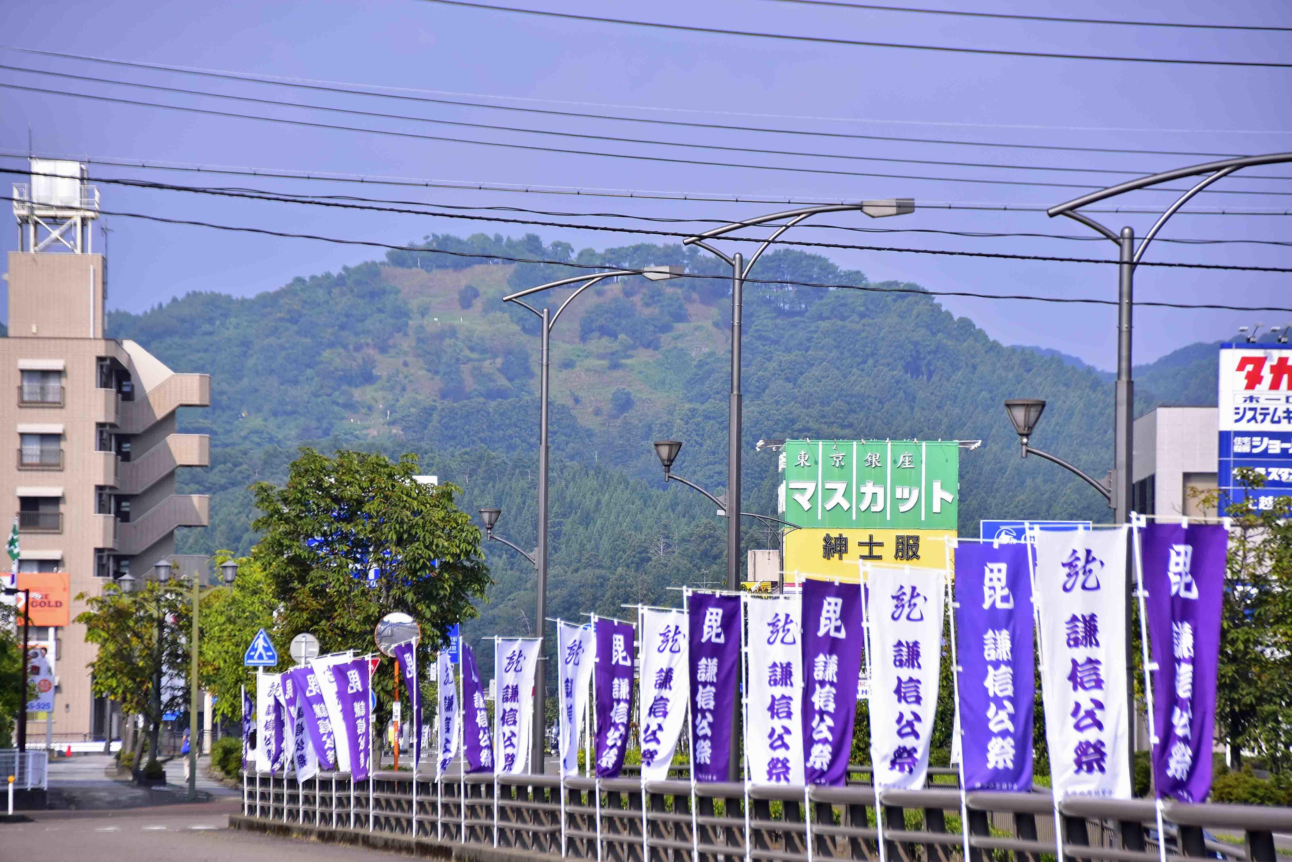 春日山駅から見た春日山城