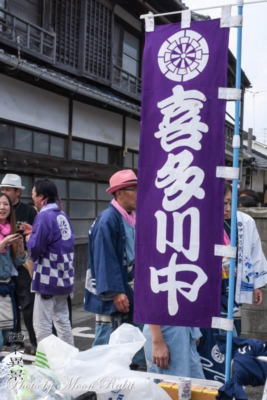 喜多川中屋台(だんじり) 祭り旗・喜多川中青年団旗