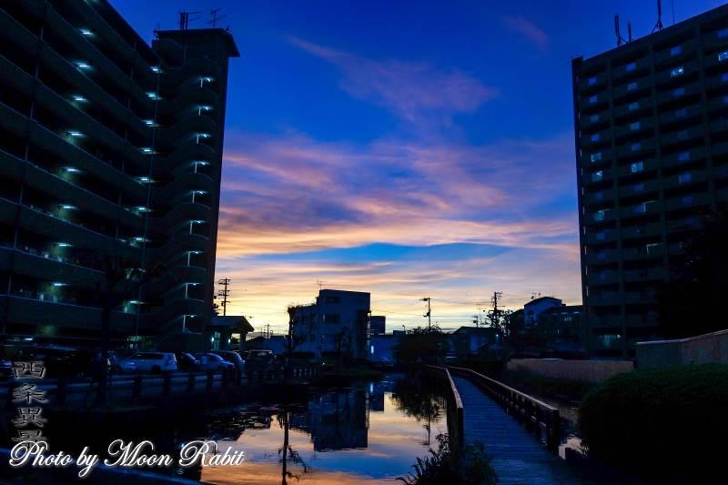 新町泉の夕景色 愛媛県西条市神拝