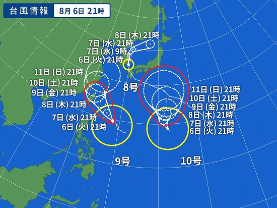 3個の台風